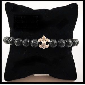 Men or women black lava rock & silver fleur lis